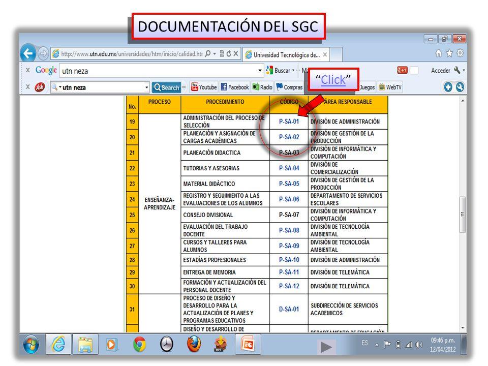 DOCUMENTACIÓN DEL SGC Click Click