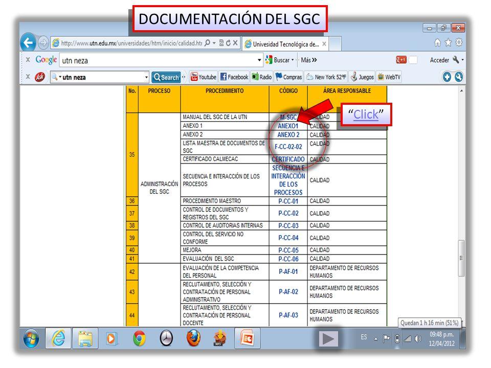 Click DOCUMENTACIÓN DEL SGC