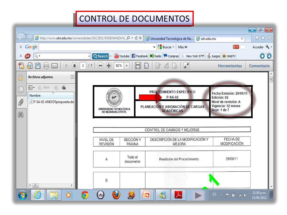 CONTROL DE DOCUMENTOS