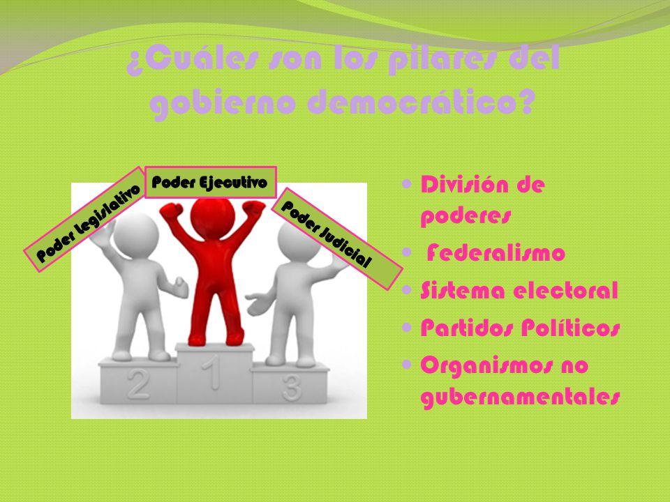 ¿Cuáles son los pilares del gobierno democrático? División de poderes Federalismo Sistema electoral Partidos Políticos Organismos no gubernamentales