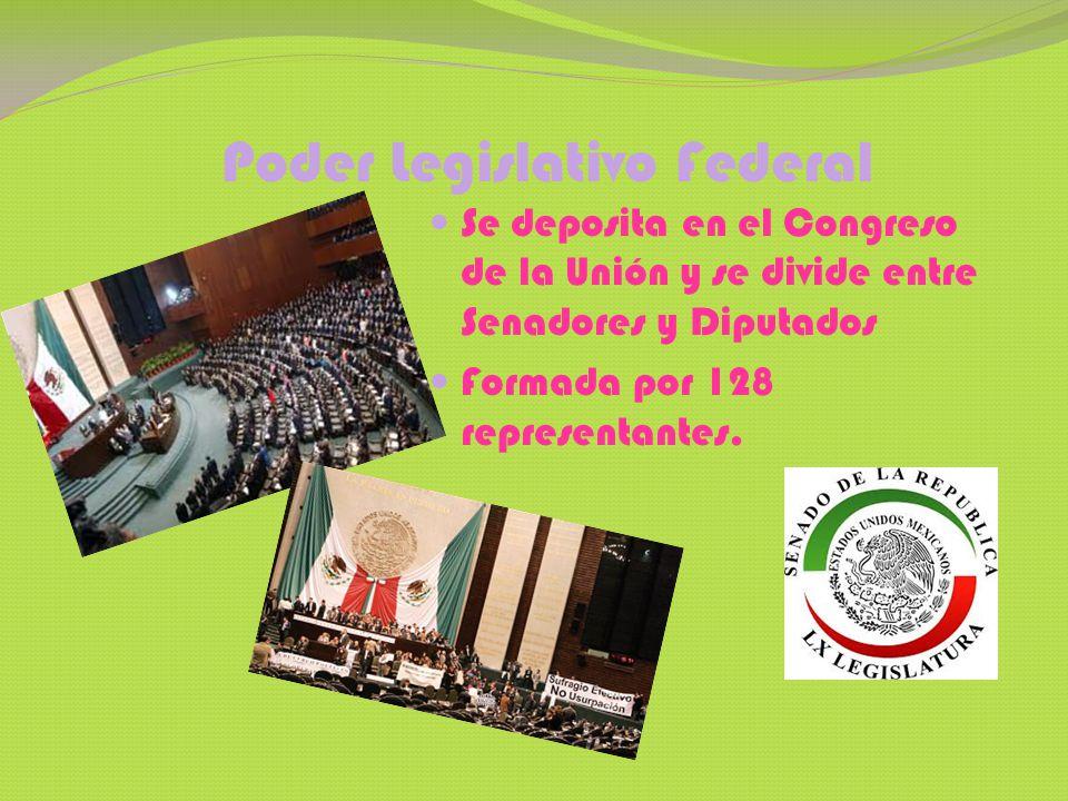 Poder Ejecutivo Federal Se deposita en el Presidente de la Republica.