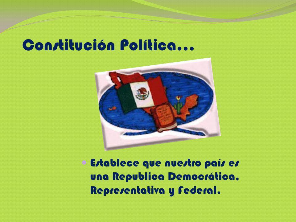 Constitución Política… Establece que nuestro país es una Republica Democrática, Representativa y Federal.