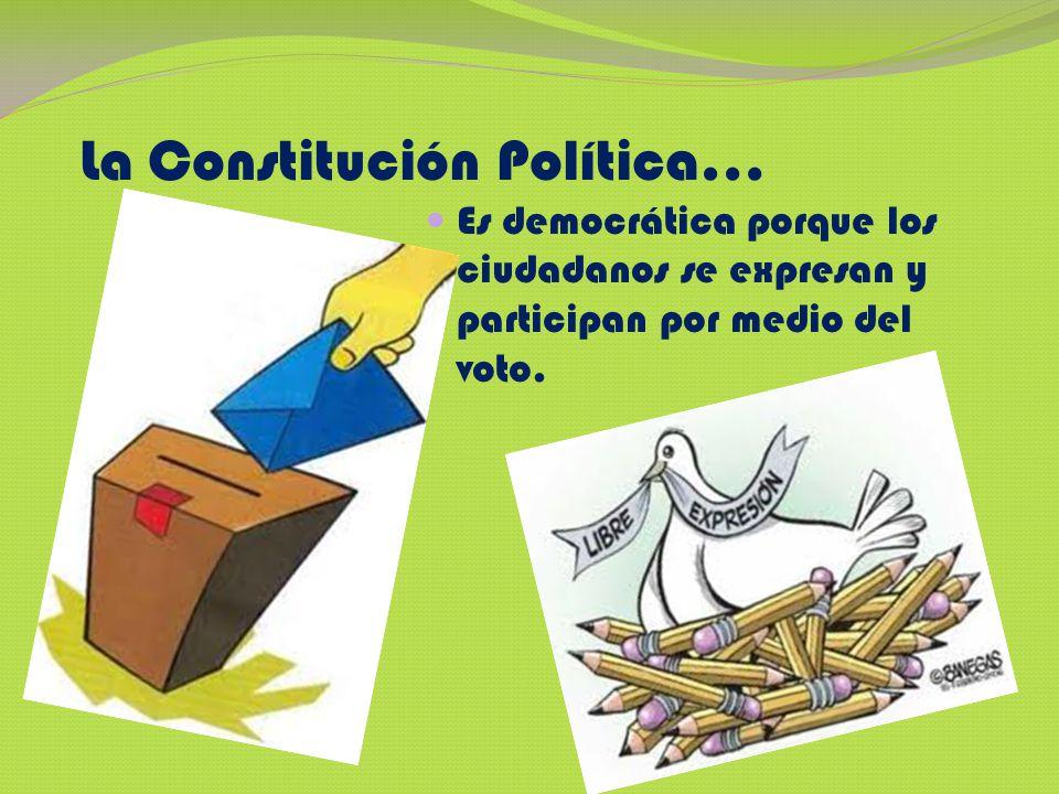 La Constitución Política… Es democrática porque los ciudadanos se expresan y participan por medio del voto.