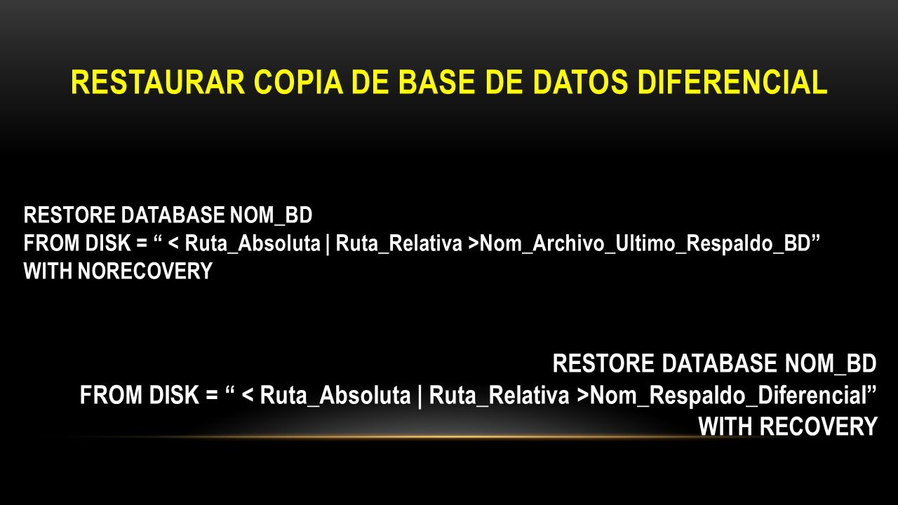 RESTAURAR COPIA DE BASE DE DATOS DIFERENCIAL RESTORE DATABASE NOM_BD FROM DISK = Nom_Archivo_Ultimo_Respaldo_BD WITH NORECOVERY RESTORE DATABASE NOM_B