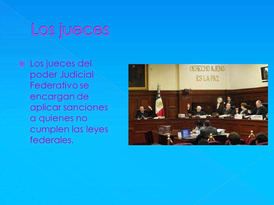Los jueces del poder Judicial Federativo se encargan de aplicar sanciones a quienes no cumplen las leyes federales.