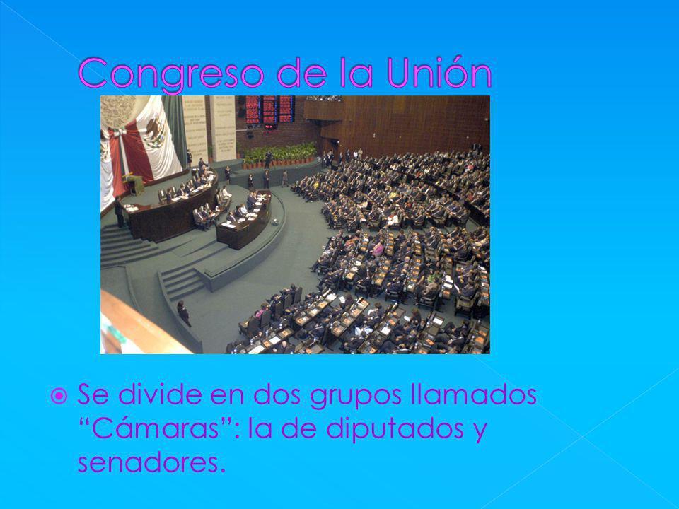 Se divide en dos grupos llamados Cámaras: la de diputados y senadores.