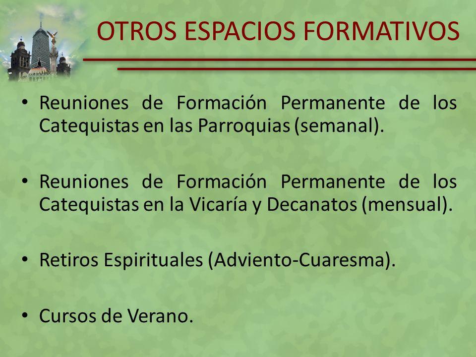 OTROS ESPACIOS FORMATIVOS Reuniones de Formación Permanente de los Catequistas en las Parroquias (semanal). Reuniones de Formación Permanente de los C