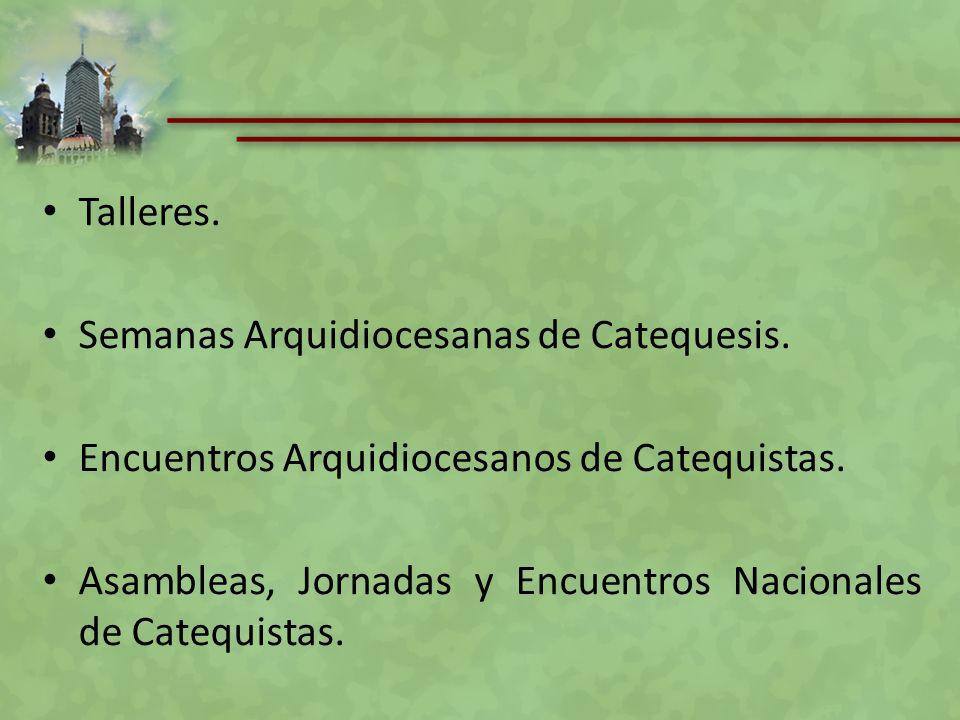 Talleres. Semanas Arquidiocesanas de Catequesis. Encuentros Arquidiocesanos de Catequistas. Asambleas, Jornadas y Encuentros Nacionales de Catequistas