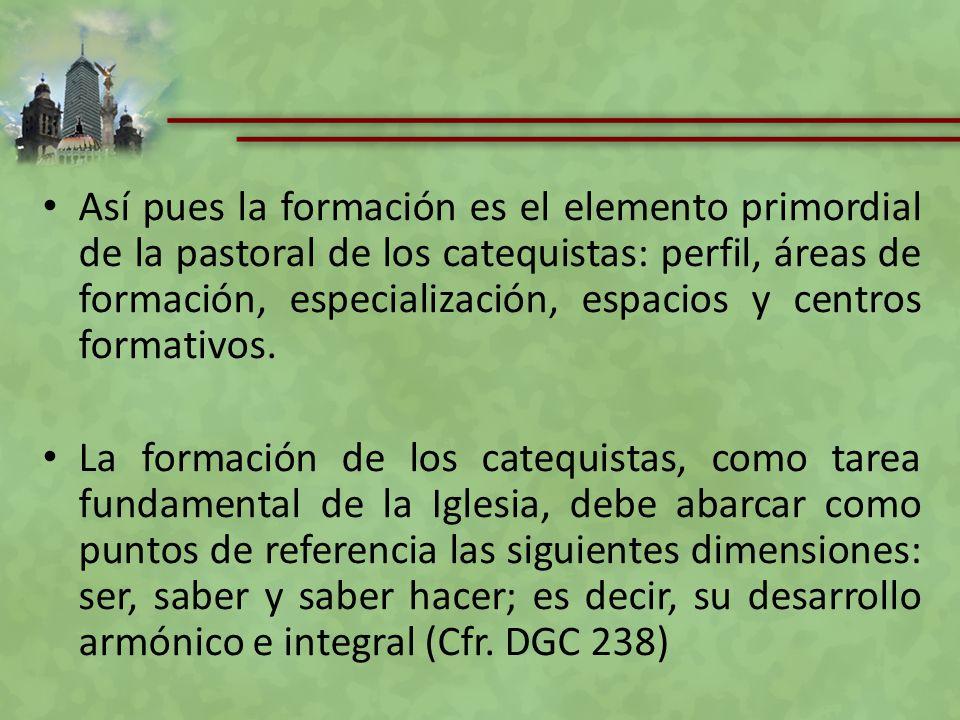 Así pues la formación es el elemento primordial de la pastoral de los catequistas: perfil, áreas de formación, especialización, espacios y centros for