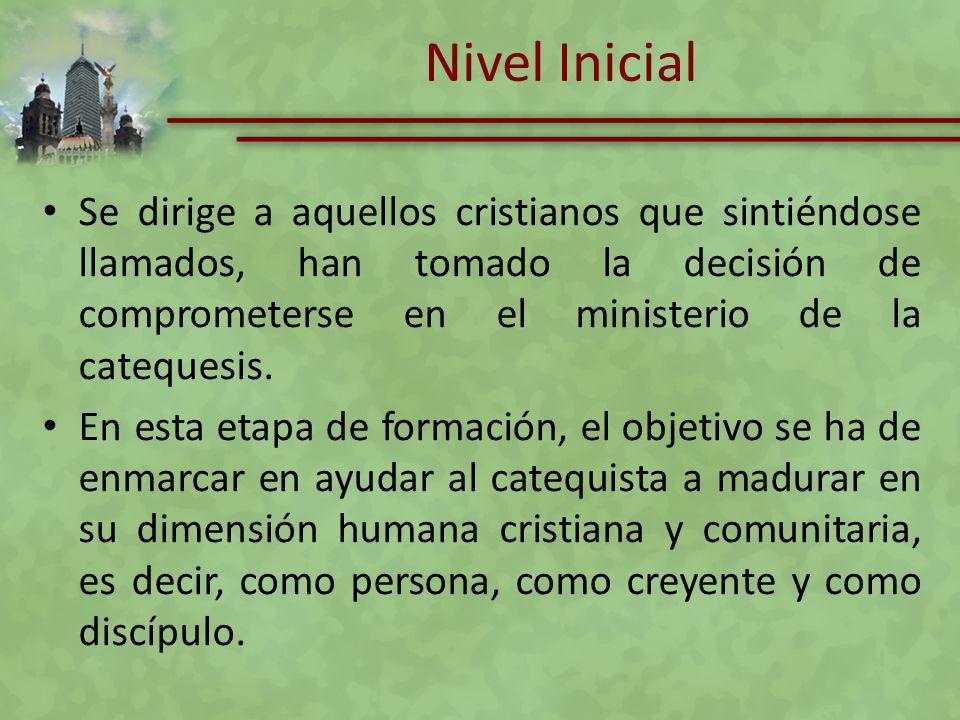 Nivel Inicial Se dirige a aquellos cristianos que sintiéndose llamados, han tomado la decisión de comprometerse en el ministerio de la catequesis. En