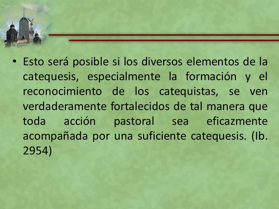 Esto será posible si los diversos elementos de la catequesis, especialmente la formación y el reconocimiento de los catequistas, se ven verdaderamente
