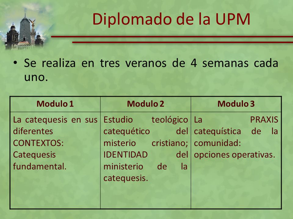 Diplomado de la UPM Se realiza en tres veranos de 4 semanas cada uno. Modulo 1Modulo 2Modulo 3 La catequesis en sus diferentes CONTEXTOS: Catequesis f