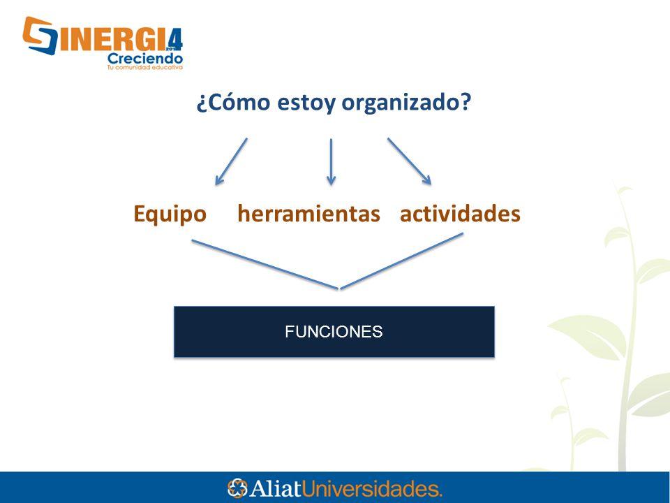 ¿Cómo estoy organizado Equipo herramientas actividades FUNCIONES
