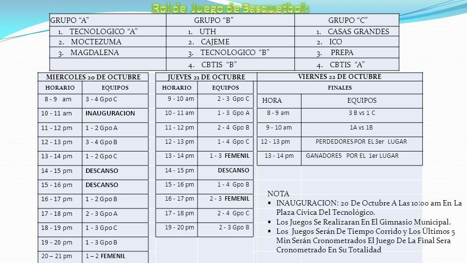 20 DE OCTUBRE HORARIO EQUIPOCARRERAEQUIPOCARRERA 11:30 - 13:30 pm ITESCA 4 CBTIS 106 3 14:00 - 16:00 pm UNIV.
