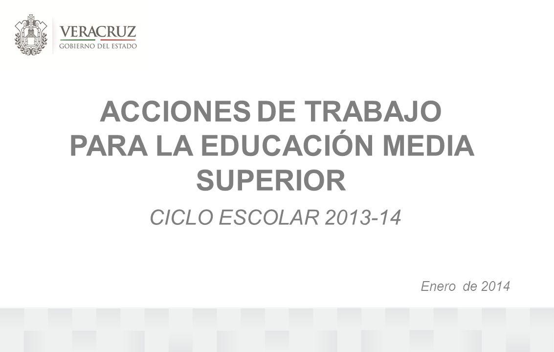 ACCIONES DE TRABAJO PARA LA EDUCACIÓN MEDIA SUPERIOR CICLO ESCOLAR 2013-14 Enero de 2014