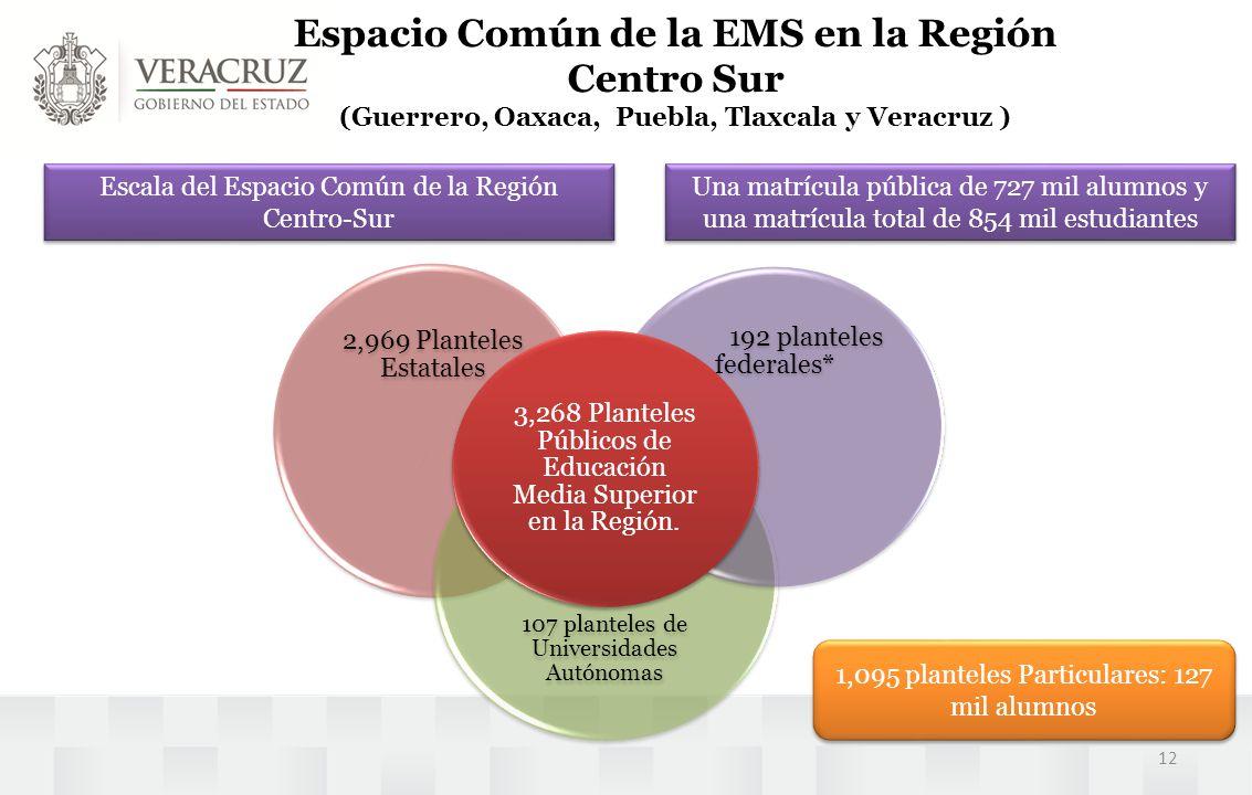Espacio Común de la EMS en la Región Centro Sur (Guerrero, Oaxaca, Puebla, Tlaxcala y Veracruz ) Escala del Espacio Común de la Región Centro-Sur 2,96