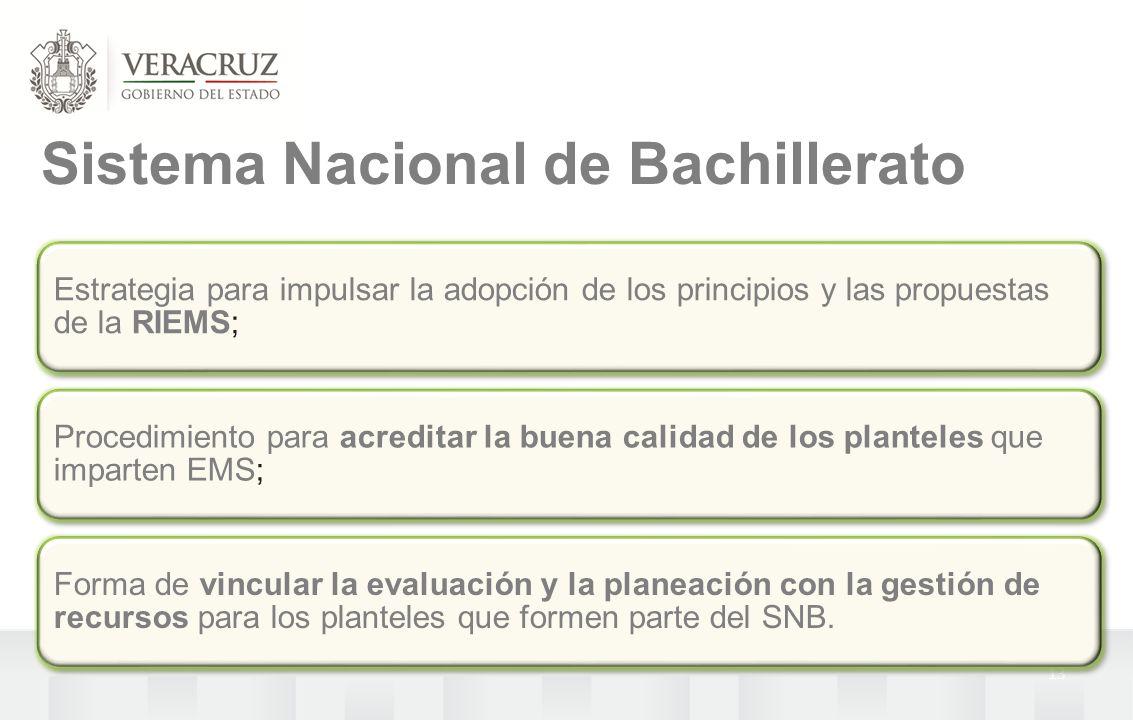 13 Sistema Nacional de Bachillerato Estrategia para impulsar la adopción de los principios y las propuestas de la RIEMS; Procedimiento para acreditar