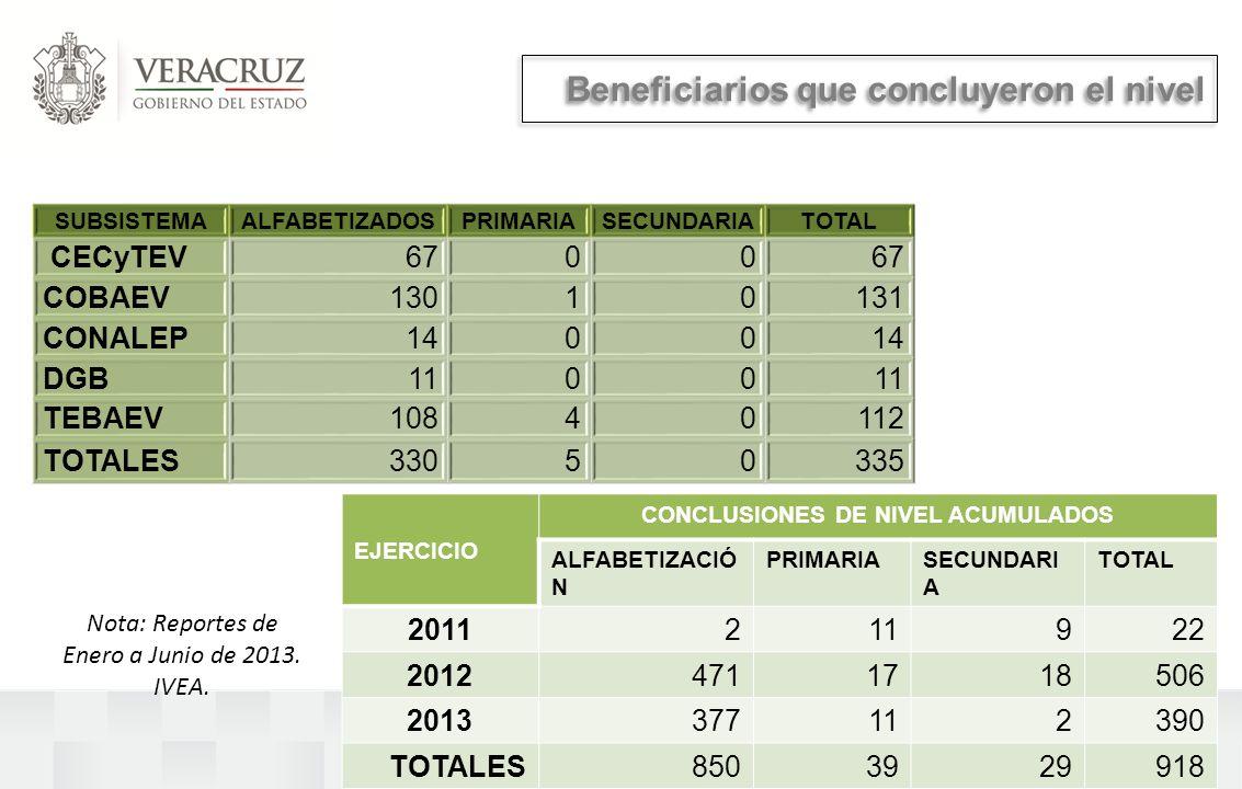 Beneficiarios que concluyeron el nivel SUBSISTEMAALFABETIZADOSPRIMARIASECUNDARIATOTAL CECyTEV6700 COBAEV13010131 CONALEP1400 DGB1100 TEBAEV10840112 TOTALES33050335 Nota: Reportes de Enero a Junio de 2013.