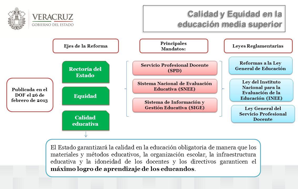 Calidad y Equidad en la educación media superior Rectoría del Estado Calidad educativa Servicio Profesional Docente (SPD) Sistema de Información y Ges