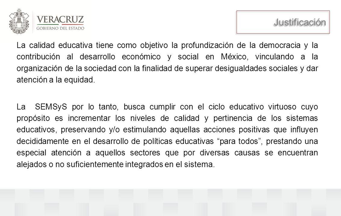 La calidad educativa tiene como objetivo la profundización de la democracia y la contribución al desarrollo económico y social en México, vinculando a la organización de la sociedad con la finalidad de superar desigualdades sociales y dar atención a la equidad.