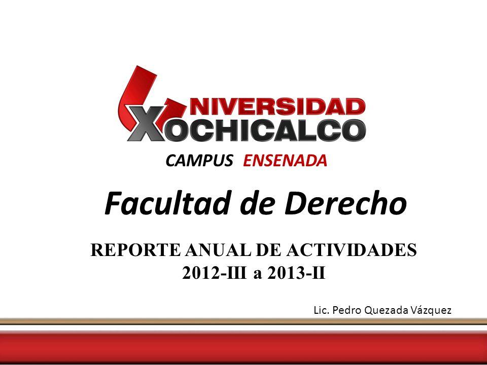 CAMPUS ENSENADA Facultad de Derecho REPORTE ANUAL DE ACTIVIDADES 2012-III a 2013-II Lic.