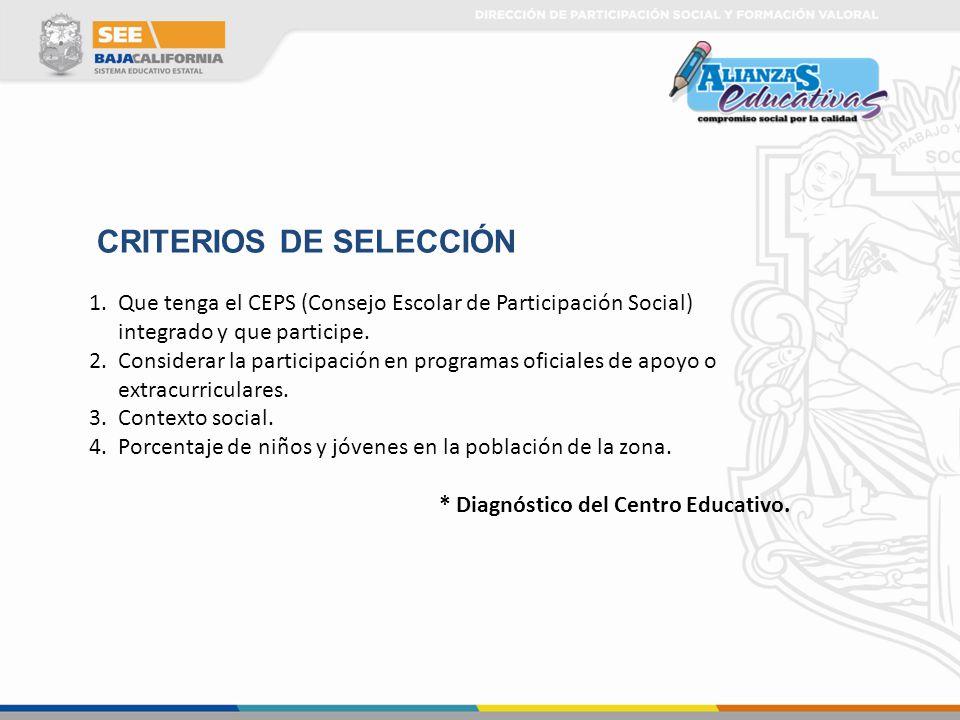 1.Que tenga el CEPS (Consejo Escolar de Participación Social) integrado y que participe. 2.Considerar la participación en programas oficiales de apoyo