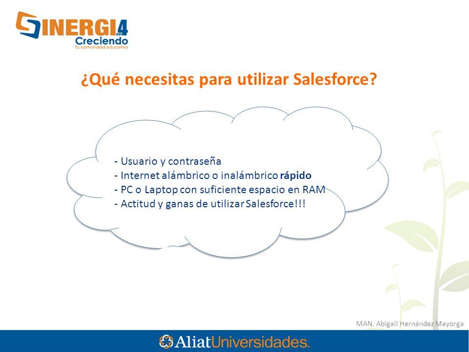 MAN. Abigail Hernández Mayorga ¿Qué necesitas para utilizar Salesforce? - Usuario y contraseña - Internet alámbrico o inalámbrico rápido - PC o Laptop