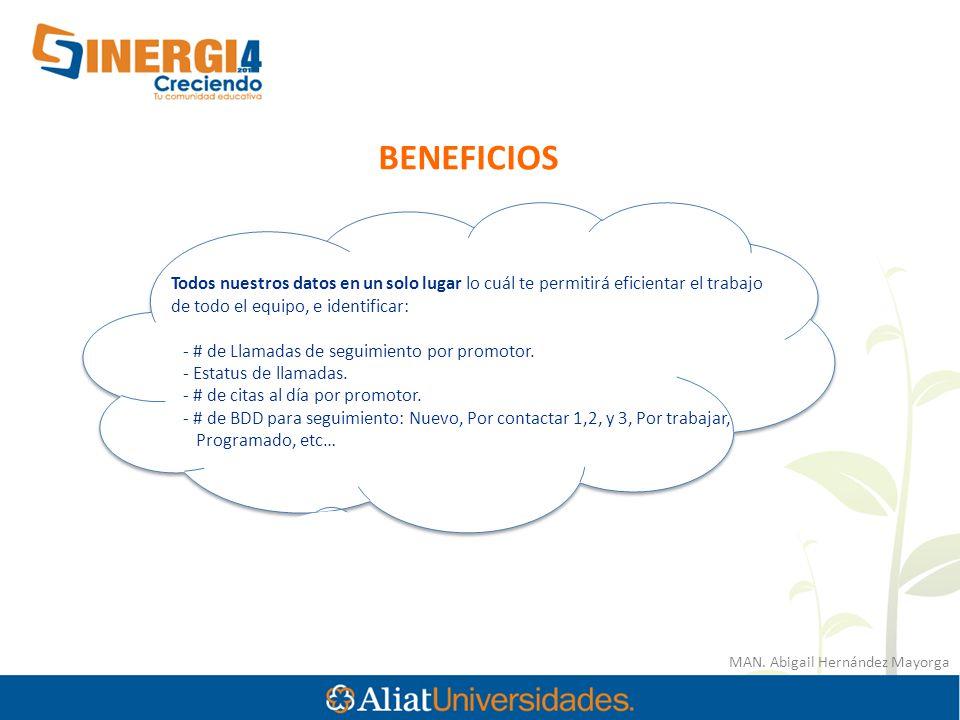 MAN. Abigail Hernández Mayorga BENEFICIOS Todos nuestros datos en un solo lugar lo cuál te permitirá eficientar el trabajo de todo el equipo, e identi