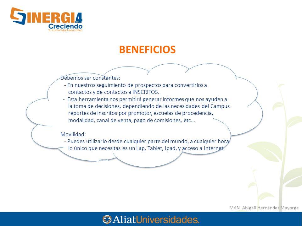 MAN. Abigail Hernández Mayorga BENEFICIOS Debemos ser constantes: - En nuestros seguimiento de prospectos para convertirlos a contactos y de contactos
