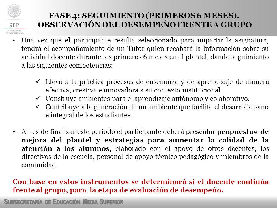 S UBSECRETARÍA DE E DUCACIÓN M EDIA S UPERIOR FASE 4: SEGUIMIENTO (PRIMEROS 6 MESES).