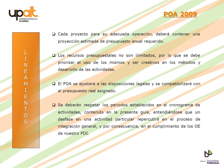 LINEAMIENTOS POA 2009 POA 2009 Cada proyecto para su adecuada operación, deberá contener una proyección estimada de presupuesto anual requerido. Los r