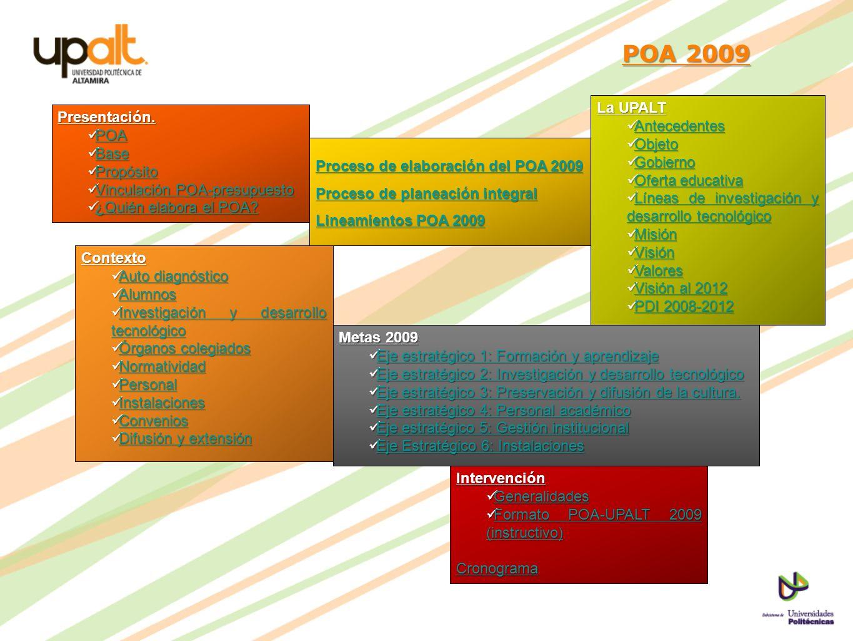 POA 2009 POA 2009Presentación. POA POA POA Base Base Base Propósito Propósito Propósito Vinculación POA-presupuesto Vinculación POA-presupuesto Vincul