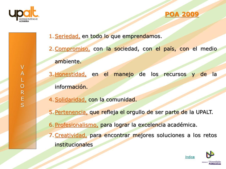 VALORES POA 2009 POA 2009 1.Seriedad, en todo lo que emprendamos. 2.Compromiso, con la sociedad, con el país, con el medio ambiente. 3.Honestidad, en