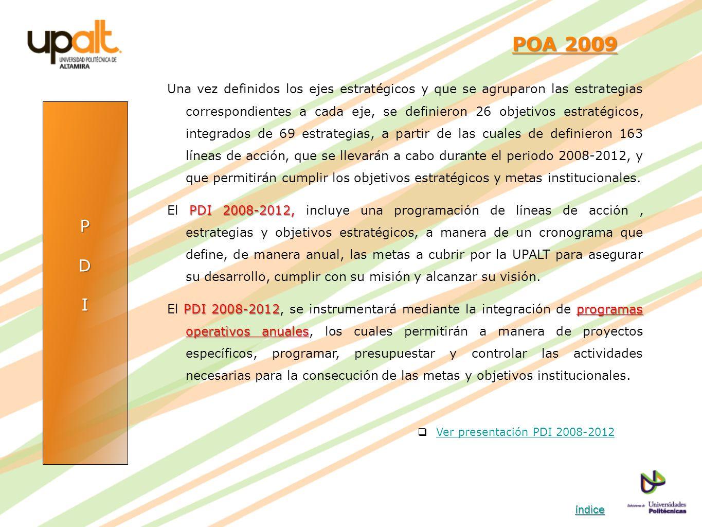 PDI POA 2009 POA 2009 Una vez definidos los ejes estratégicos y que se agruparon las estrategias correspondientes a cada eje, se definieron 26 objetiv