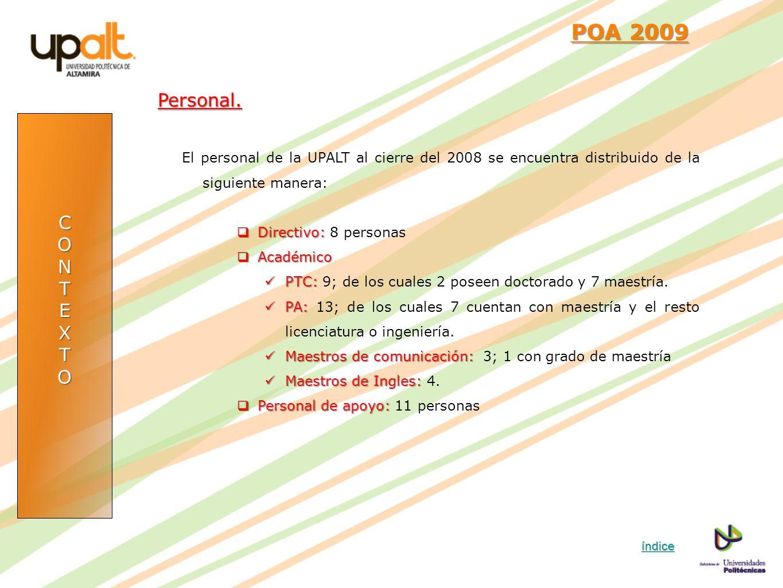 CONTEXTO POA 2009 POA 2009Personal. El personal de la UPALT al cierre del 2008 se encuentra distribuido de la siguiente manera: Directivo: Directivo: