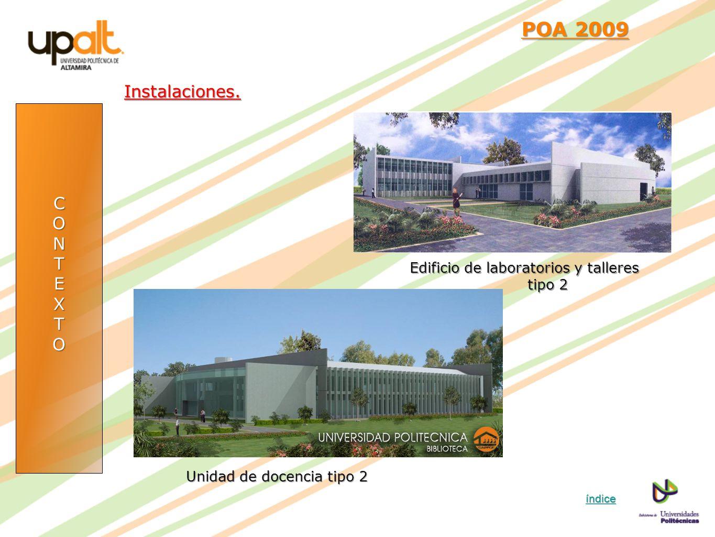 CONTEXTO POA 2009 POA 2009Instalaciones. índice Edificio de laboratorios y talleres tipo 2 Unidad de docencia tipo 2