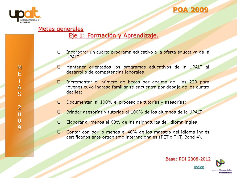 METAS2009 POA 2009 POA 2009 Incorporar un cuarto programa educativo a la oferta educativa de la UPALT; Mantener orientados los programas educativos de