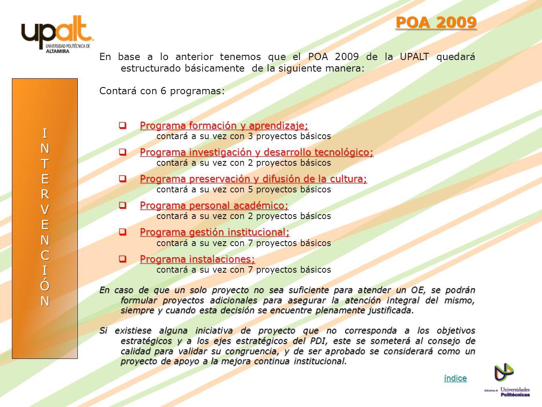 INTERVENCIÓN POA 2009 POA 2009 En base a lo anterior tenemos que el POA 2009 de la UPALT quedará estructurado básicamente de la siguiente manera: Cont