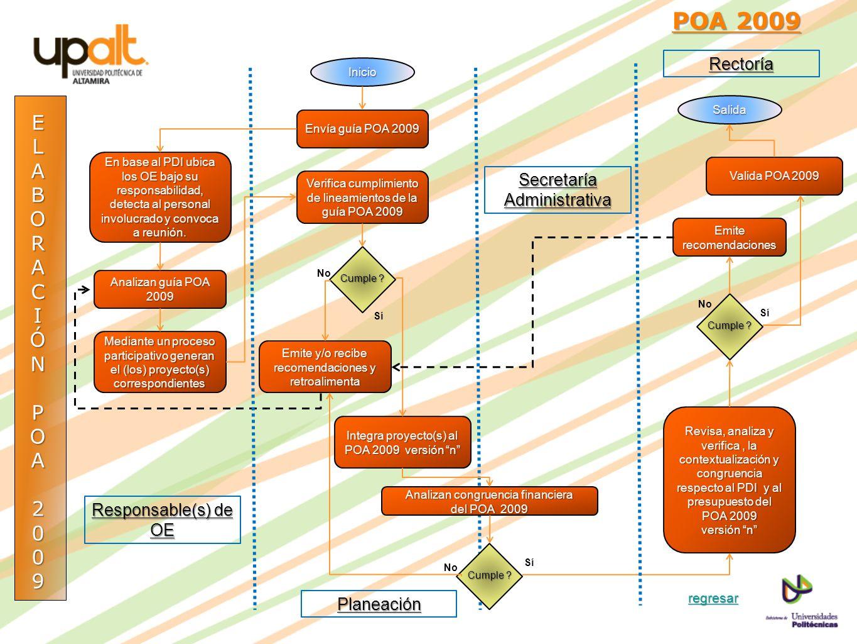 ELABORACIÓNPOA2009 POA 2009 POA 2009Inicio Envía guía POA 2009 En base al PDI ubica los OE bajo su responsabilidad, detecta al personal involucrado y