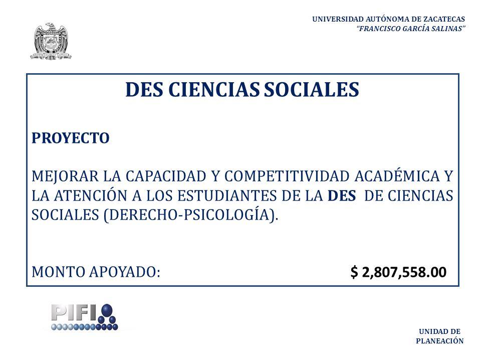 DES CIENCIAS SOCIALES PROYECTO MEJORAR LA CAPACIDAD Y COMPETITIVIDAD ACADÉMICA Y LA ATENCIÓN A LOS ESTUDIANTES DE LA DES DE CIENCIAS SOCIALES (DERECHO-PSICOLOGÍA).