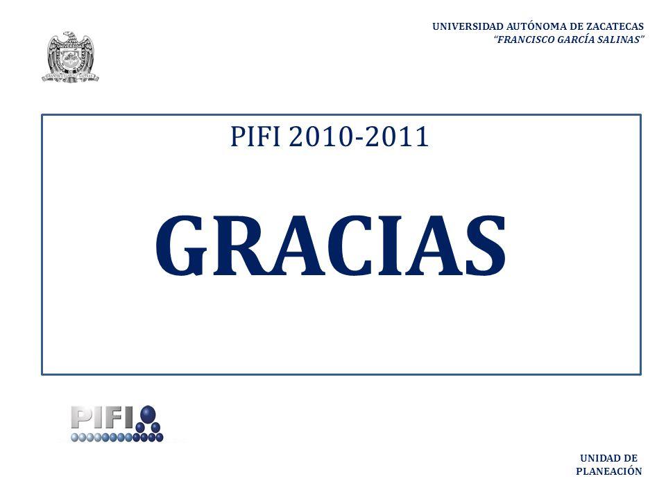 UNIVERSIDAD AUTÓNOMA DE ZACATECAS FRANCISCO GARCÍA SALINAS UNIDAD DE PLANEACIÓN PIFI 2010-2011 GRACIAS