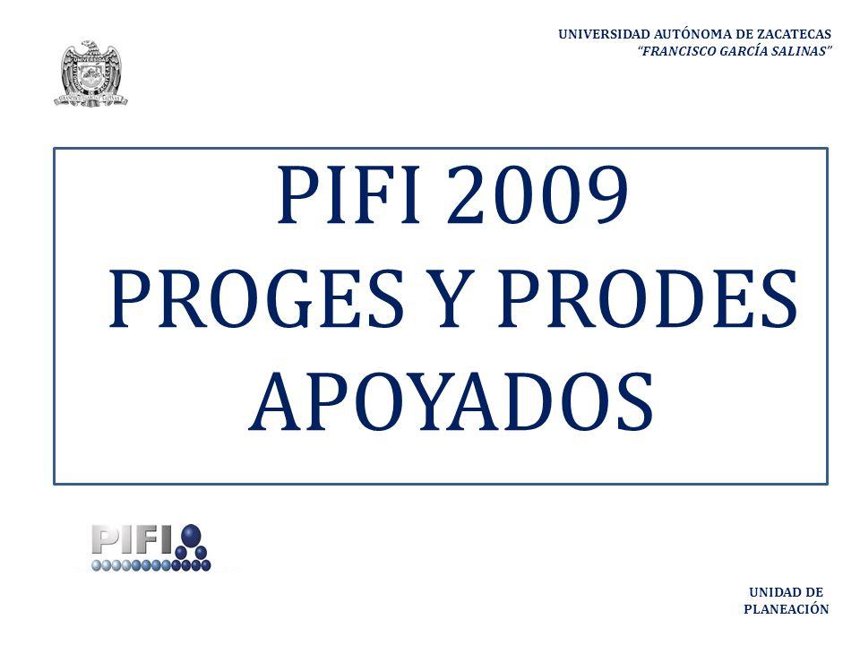 UNIVERSIDAD AUTÓNOMA DE ZACATECAS FRANCISCO GARCÍA SALINAS UNIDAD DE PLANEACIÓN PIFI 2009 PROGES Y PRODES APOYADOS