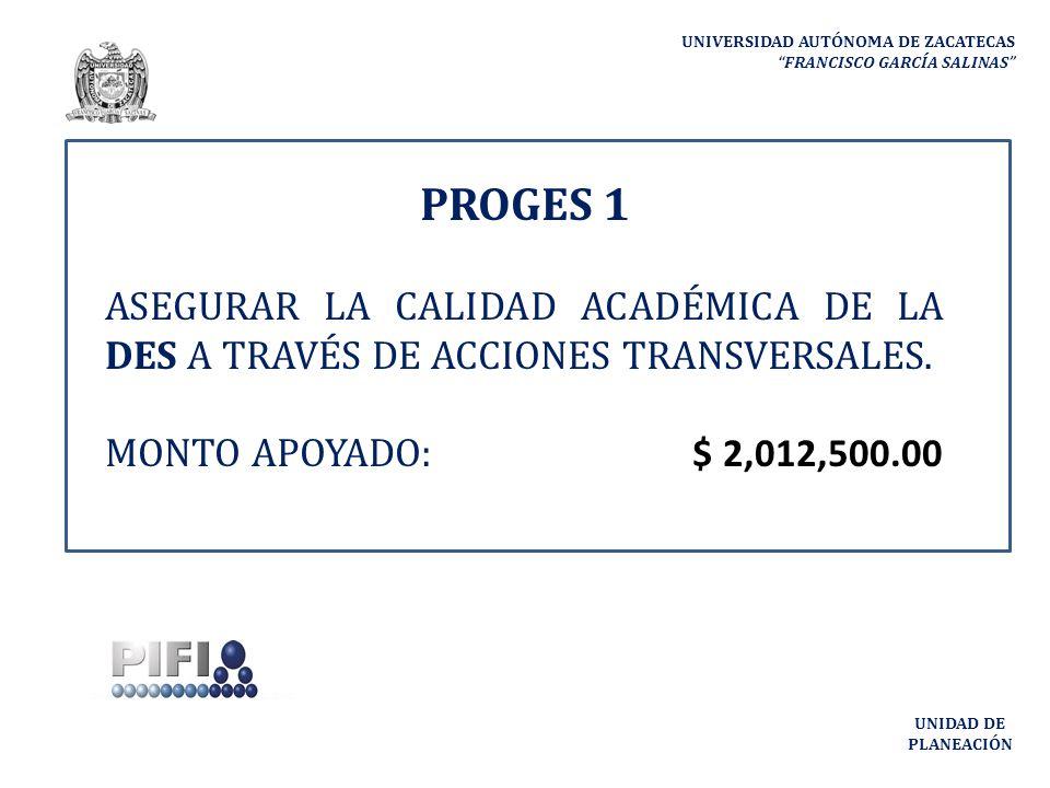 PROGES 1 ASEGURAR LA CALIDAD ACADÉMICA DE LA DES A TRAVÉS DE ACCIONES TRANSVERSALES.