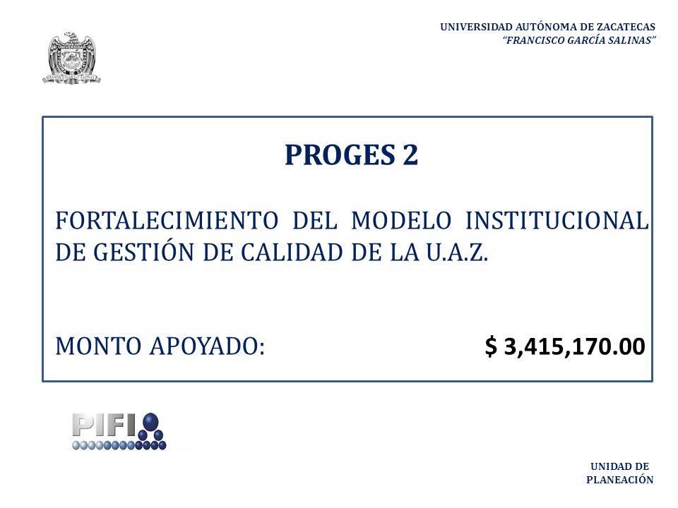 PROGES 2 UNIVERSIDAD AUTÓNOMA DE ZACATECAS FRANCISCO GARCÍA SALINAS UNIDAD DE PLANEACIÓN Metas Compromiso que se alcanzarán con el desarrollo del proyecto Descripción de la Meta Compromiso Número a cumplir Procesos estratégicos de gestión que serán certificados por la norma ISO 9000:2000 8