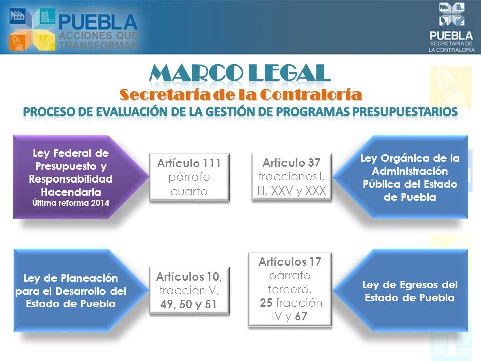 Artículos 9 fracciones IV, V, VIII, XIII y XVIII, 21 fracciones I, IV, IX, XI 23 fracciones I, II, III, IV, V, VI, VII y IX Artículos 9 fracciones IV, V, VIII, XIII y XVIII, 21 fracciones I, IV, IX, XI 23 fracciones I, II, III, IV, V, VI, VII y IX Reglamento Interior de la Secretaría de la Contraloría Ley de Presupuesto y Gasto Público del Estado de Puebla Artículos 6, 102, 107, párrafo primero y tercero, 111, 112 y 116