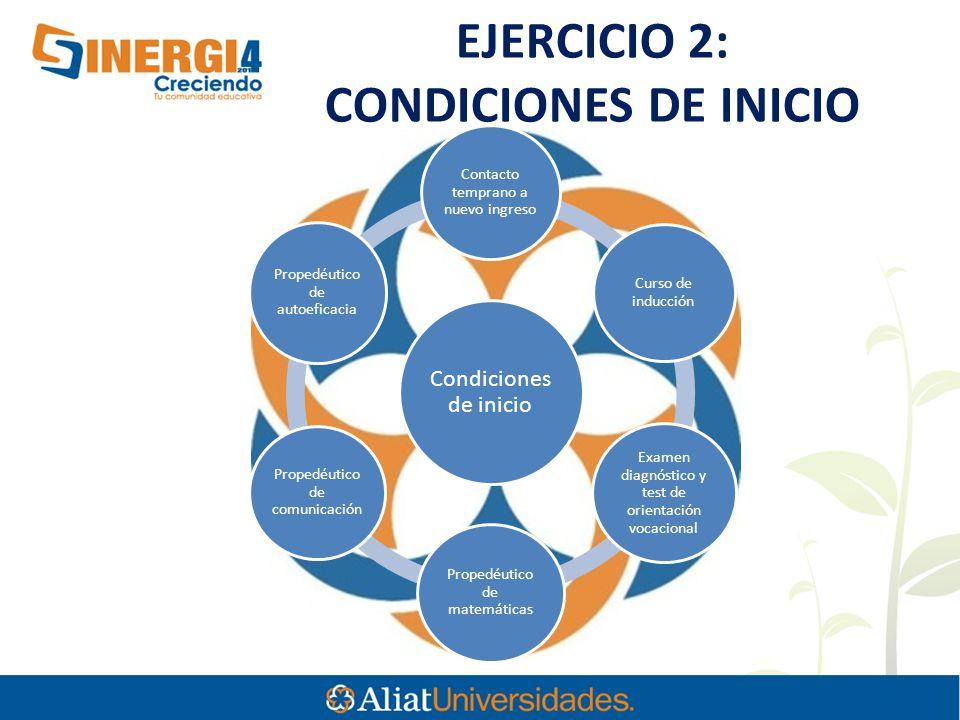 EJERCICIO 2: CONDICIONES DE INICIO