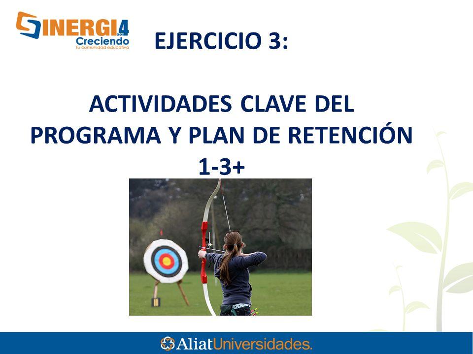 EJERCICIO 3: ACTIVIDADES CLAVE DEL PROGRAMA Y PLAN DE RETENCIÓN 1-3+