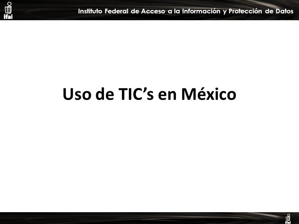 Informe de Autoevaluación primer semestre 2009 Instituto Federal de Acceso a la Información y Protección de Datos Uso de TICs en México
