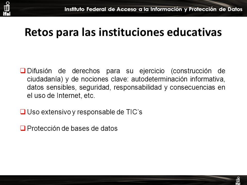 Informe de Autoevaluación primer semestre 2009 Instituto Federal de Acceso a la Información y Protección de Datos Difusión de derechos para su ejercicio (construcción de ciudadanía) y de nociones clave: autodeterminación informativa, datos sensibles, seguridad, responsabilidad y consecuencias en el uso de Internet, etc.