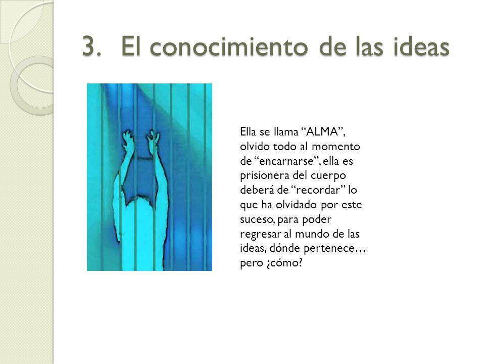 3.El conocimiento de las ideas Ella se llama ALMA, olvido todo al momento de encarnarse, ella es prisionera del cuerpo deberá de recordar lo que ha ol